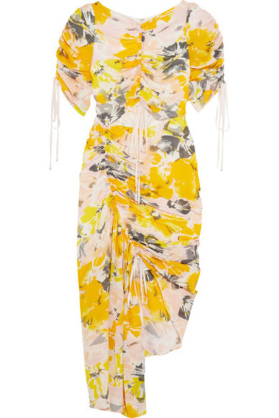 Alice McCall dress floral print silk yellow