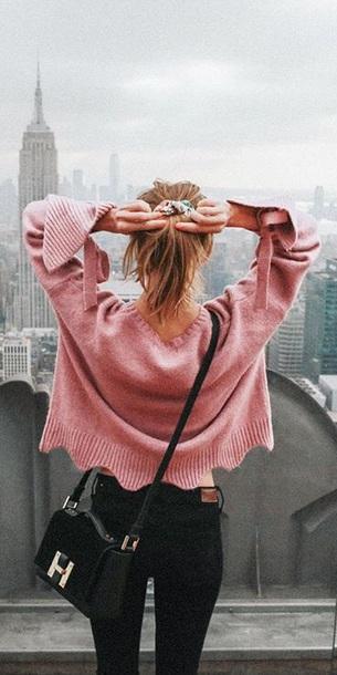 sweater pink ruffle cropped oversized sweater