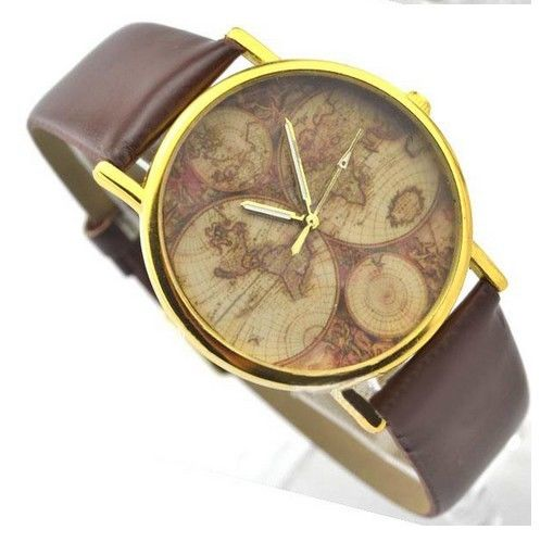 Retro World MAP Watch Fashion Leather Alloy Womens Analog Quartz Wrist Watch 1 | eBay