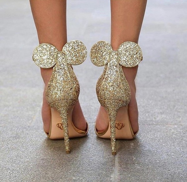 shoes high heels gold sequins