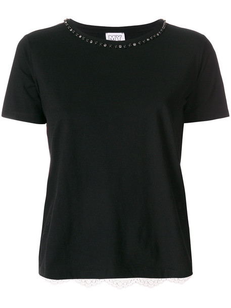 Twin-Set t-shirt shirt t-shirt embroidered women lace cotton black top