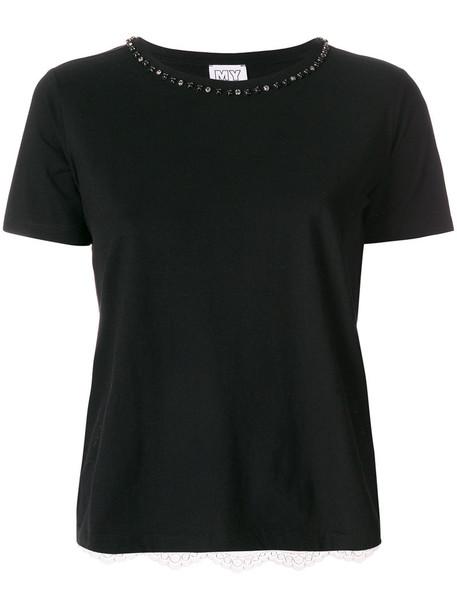 t-shirt shirt t-shirt embroidered women lace cotton black top