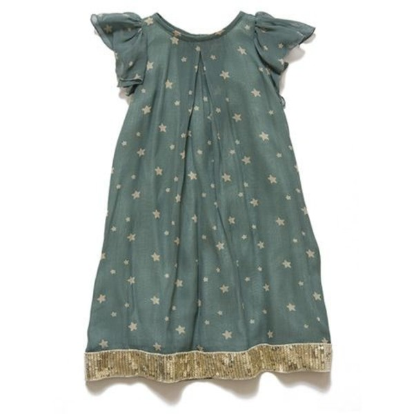 dress blue stars short sleeve light blue gold sequins