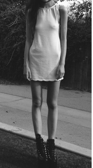 jeffrey campbell white dress girl black and white simple white dress simple outfit high neck high neck dress summer dress cute grunge soft grunge spring dress