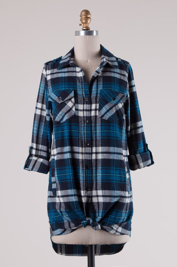 top blue plaid pockets gathered hem tunic