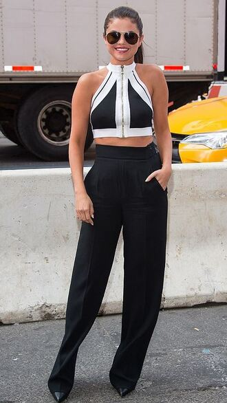 top crop tops pants selena gomez high waisted sunglasses