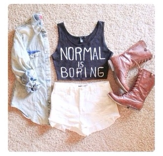 tank top top t-shirt shirt black black and white white normal is boring normal is boring shoes jacket crop tops black t-shirt