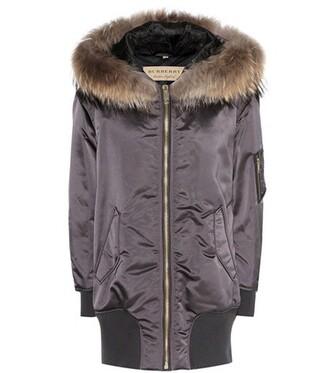 parka fur satin grey coat