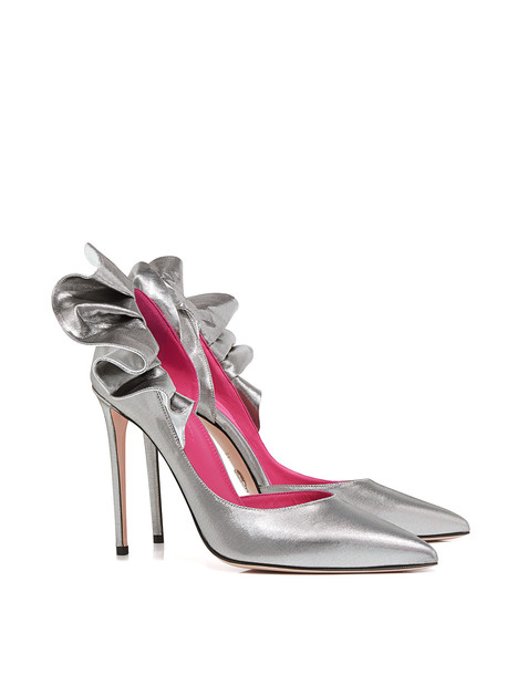 Oscar Tiye metallic ruffle pumps silver shoes
