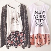new york city,los angeles,california,muscle tee,graphic tee,pom pom shorts,flowered shorts,birds,salmon,shorts,white top,summer outfits,outfit,outfit idea,cardigan,blouse,skater skirt,pastel,oversized cardigan,los angeles top,bird skirt,hipster,pastel grunge,floral style,cute,lovely,city,shirt,skirt