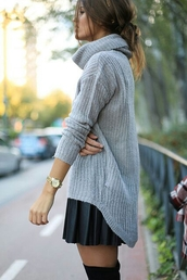 sweater,oversized sweater,grey sweater,skirt,top,oversized turtleneck sweater,grey