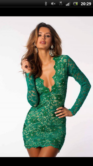 dress long sleeved dress lace dress green dress