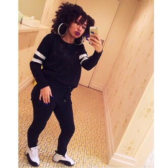 sweater black and whit instagram black and white blouse leggings sneakers jordans earrings lipstick natural hair