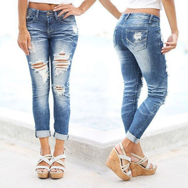 Jeans: capri jeans, denim capri, cute capri, destroyed capri jeans ...