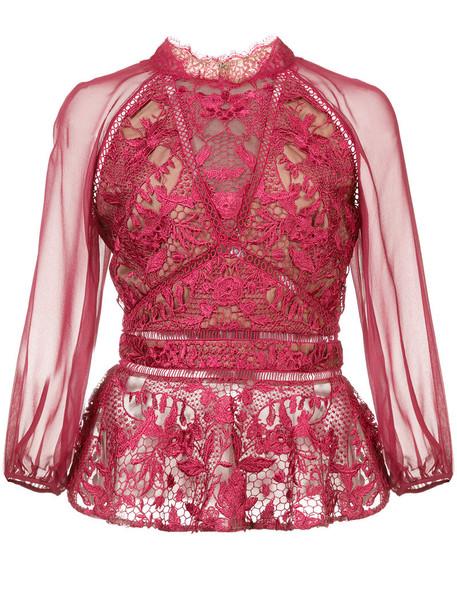 Marchesa Notte - lace detail peplum blouse - women - Nylon - 14, Red, Nylon