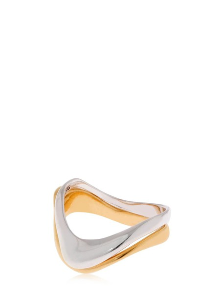 BAR JEWELLERY Large Wave Set Of 2 Rings in gold / silver