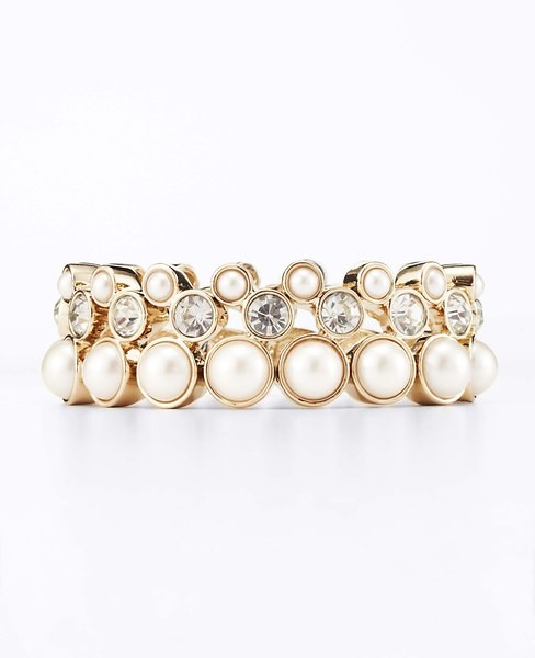 Pearlized Crystal Stretch Bracelet | Ann Taylor