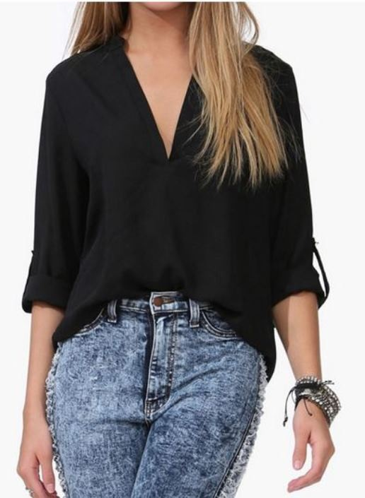 Black Chiffon V Neck Blouse with Half Sleeves