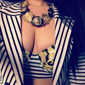 underwear,necklace,bra,vintage,gold,pattern,stripes,black,white,tank top,jacket,jewels