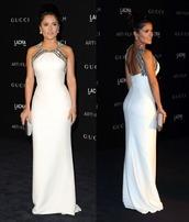dress,white dress,salma hayek,prom dress,gown