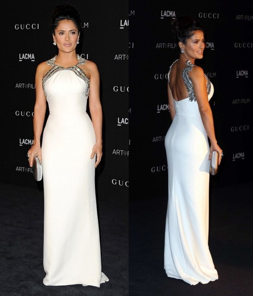 salma hayek dress white dress prom dress gown