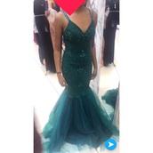 dress,green dress,green,mermaid,mermaid prom dress