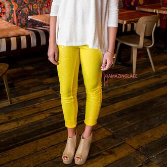 leggings pants yellow pastel sequins amazinglace