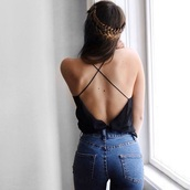 shirt,black top,revealingtop,top,tank top,clothes,summer top,summer outfits,backless,backless top,backless tank,backless shirt,cute,summer,hipster,festival,fashion,sexy,casual,classy,streetwear,open back,urban,urban casual,chic,black,strappy,spring outfits,criss cross back,hairstyles,spaghetti strap,spaghetti strap top,jeans,blue jeans,braid