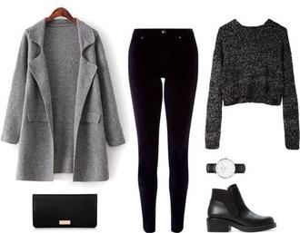 coat gray felt outfit idea gris grey droit long manteau
