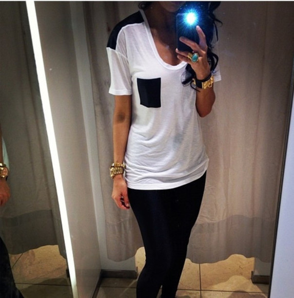 black and white blouse shirt black pocket tshirt t-shirt