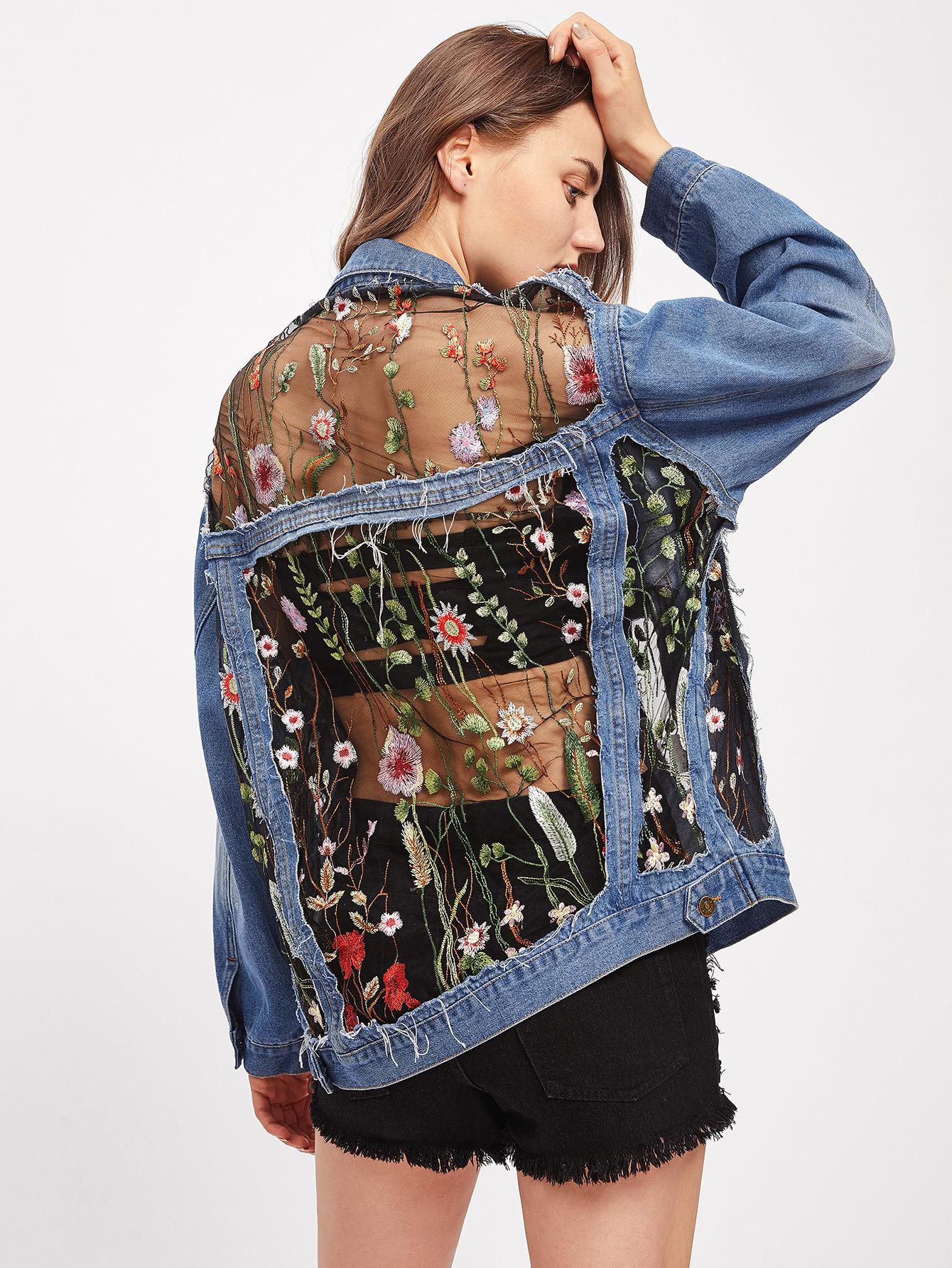 276e36f007 Embroidered Mesh Insert Boyfriend Denim Jacket -SheIn(Sheinside)