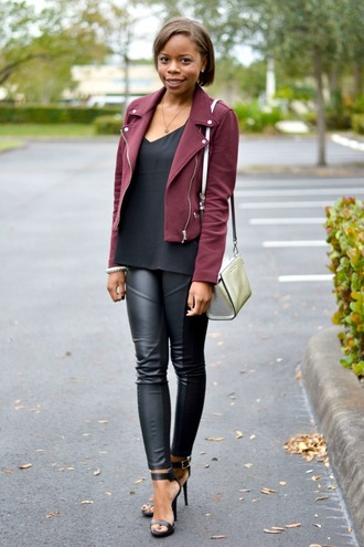 cha cha the fashion genius blogger perfecto cotton leather leggings jacket tank top leggings shoes bag jewels leather pants black heels white bag black top burgundy jacket