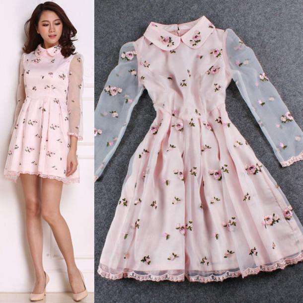 2e5e903f0712 dress floral floral dress mesh dress baby pink long sleeve baby pink dress  long sleeve dress