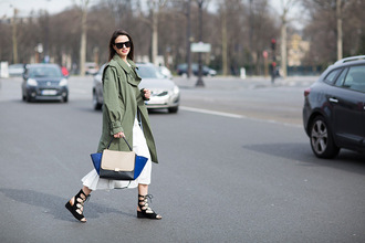 fashion vibe blogger trench coat gladiators celine bag