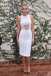 gigi hadid,louboutin,white dress,bodycon dress,dress,fashion,model,celebrities in white