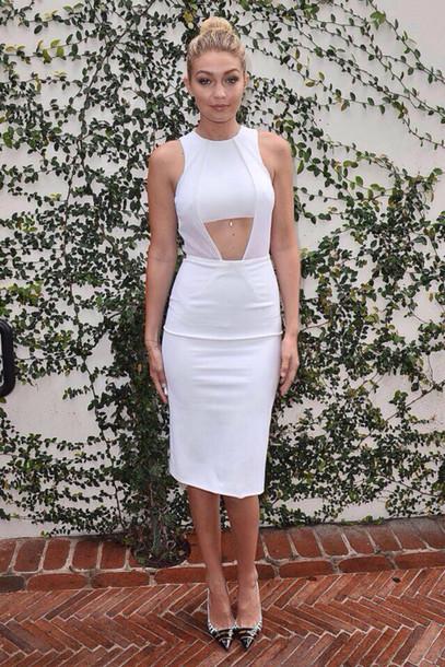 gigi hadid louboutin white dress bodycon dress dress fashion model celebrities in white