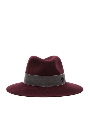 Maison Michel Henrietta Boyfriend Felt Hat in Rouge Noir | FWRD