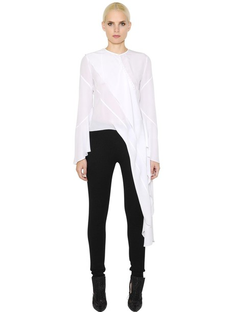 ac53a740bc9 GIVENCHY Asymmetrical Silk Crepe De Chine Shirt in white - Wheretoget