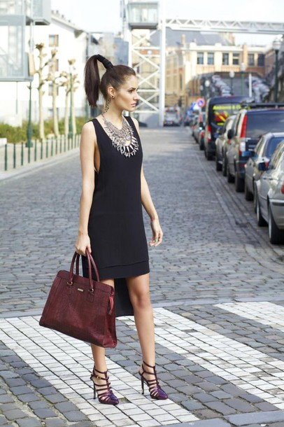 from brussels with love blogger leather bag black dress high-low dresses statement necklace
