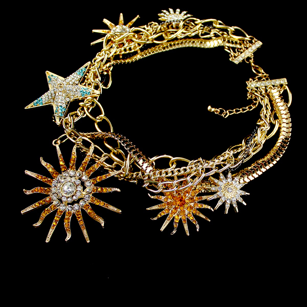 Gold Crystal Gold Stars Chain Necklace - Sheinside.com
