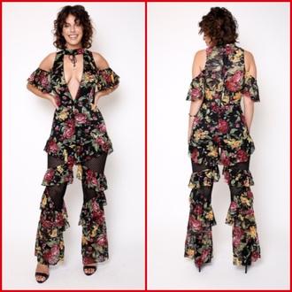 jumpsuit floral lace low cut ruffled jumpsuit laceup jumpsuit floral jumpsuit frilly ruffle print jumspsuit women printing jumpsuit