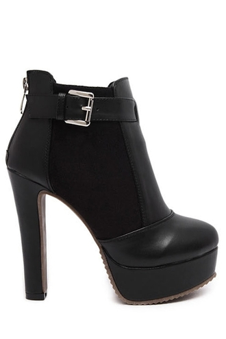 shoes high heels buckles platform shoes chunky heel splicing black ankle boots faux leather black fall outfits