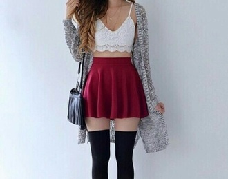 skirt summer outfits fall outfits red white black black socks and long sweater black socks bralette lace bralette white bralette black long socks knee high socks fringe black purse black purse
