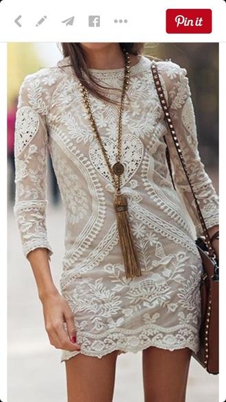 dress boho dress ivory dress lace dress
