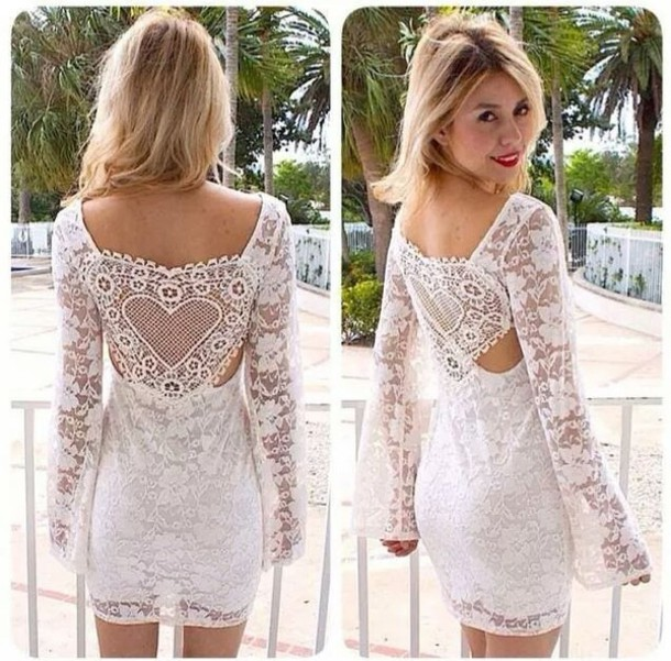 Dress: lace, sheer, white, short, summer - Wheretoget