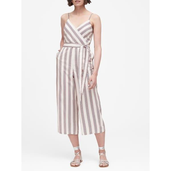 Banana Republic Women's Linen-Cotton Cropped Jumpsuit Offwhite, Pink Sand & Navy Stripe Big And Tall Size 6