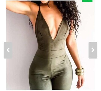 jumpsuit backless suede sexy tight khaki plunge v neck gorg v neck army green romper green fashion pretty cute cute dress cute outfits sexy jumpsuit girly girl girly wishlist olive green velvet hot style low cut summer free vibrationz