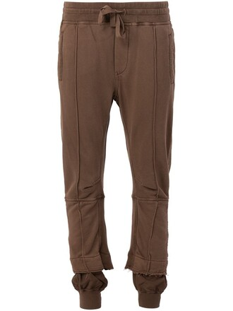 pants track pants women spandex cotton brown