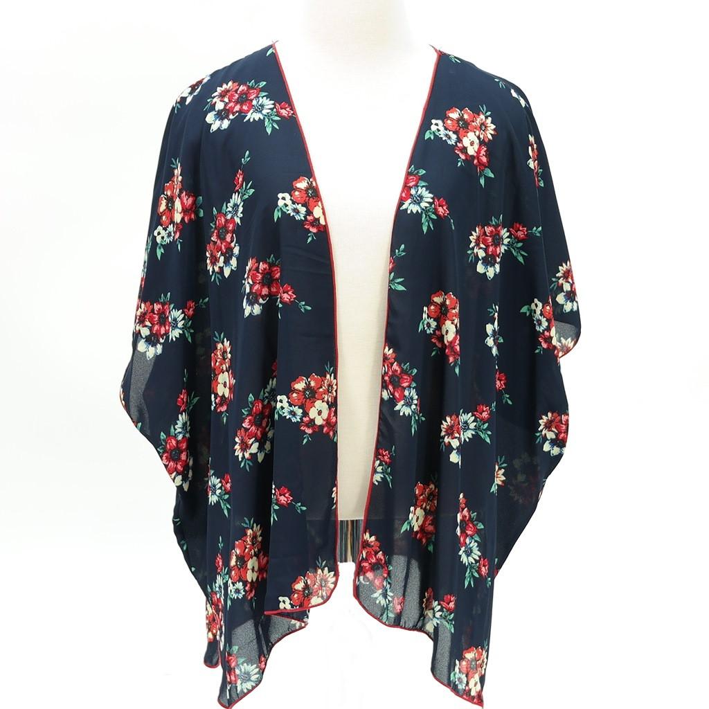 Floral print kimono chiffon cardigan navy