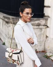 blouse,tumblr,top,white top,dress,white dress,slip dress,bag,printed bag,floral,floral bag,chain bag,clear sunnies,sunglasses,gucci,gucci bag,dionysus,clear lens sunglasses